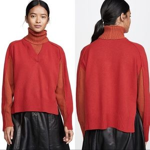 Cedric Charlier V Neck Red Wool Sweater
